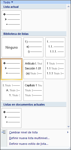 Qué es una lista de multinivel en word