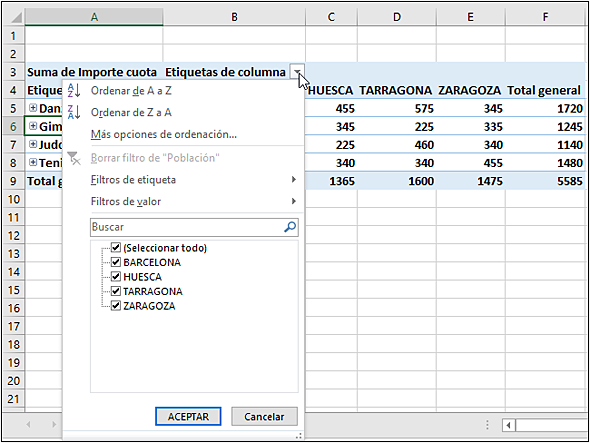 Microsoft Office 2016 Word Excel Powerpoint Outlook Onenote Funciones Avanzadas Filtrar Una Tabla Dinámica